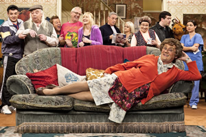 Mrs. Brown's Boys. Image shows from L to R: Buster Brady (Danny O'Carroll), Grandad Brown (Dermot O'Neill), Dino Doyle (Gary Hollywood), Rory Brown (Rory Cowan), Cathy Brown (Jennifer Gibney), Mark Brown (Pat Shields), Betty Brown (Amanda Woods), Winnie McGoogan (Eilish O'Carroll), Dermot Brown (Paddy Houlihan), Agnes Brown (Brendan O'Carroll), Maria Nicholson / Brown (Fiona O'Carroll). Copyright: BBC / BocPix.