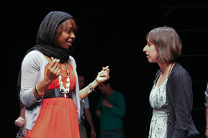 MUJU rehearsing 'Very Muslim Girls'. Image shows from L to R: Samira Sissala, Georgina Bednar. Copyright: Abdul Haseeb Basit.