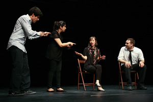MUJU rehearsing 'Ad Agency'. Image shows from L to R: Josh Azouz, Yasmeen Khan, Georgina Bednar, Raphael Bar. Copyright: Abdul Haseeb Basit.
