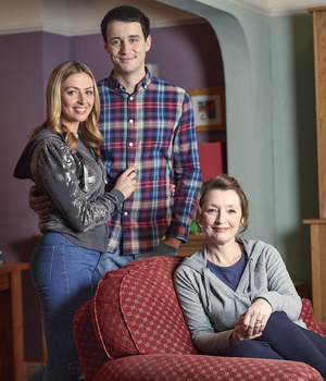 Mum. Image shows from L to R: Kelly (Lisa McGrillis), Jason (Sam Swainsbury), Cathy (Lesley Manville).