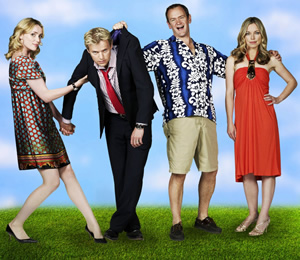 Mutual Friends. Image shows from L to R: Jen Grantham (Keeley Hawes), Martin Grantham (Marc Warren), Patrick Turner (Alexander Armstrong), Liz (Sarah Alexander). Copyright: Hat Trick Productions.