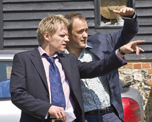 Mutual Friends. Image shows from L to R: Martin Grantham (Marc Warren), Patrick Turner (Alexander Armstrong). Copyright: Hat Trick Productions.