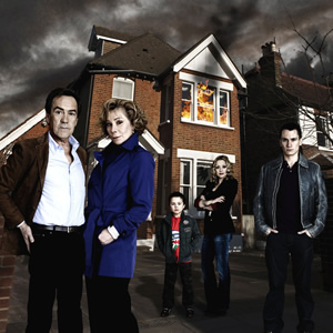 My Family. Image shows from L to R: Ben Harper (Robert Lindsay), Susan Harper (Zoë Wanamaker), Kenzo Harper (Tayler Marshall), Janey Harper (Daniela Denby-Ashe), Michael Harper (Gabriel Thomson). Image credit: DLT Entertainment Ltd..