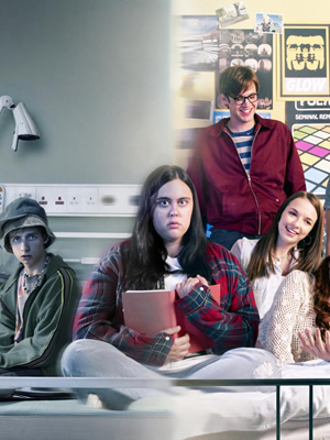 My Mad Fat Diary. Image shows from L to R: Danny Two Hats (Darren Evans), Rae Earl (Sharon Rooney), Archie (Dan Cohen), Chloe (Jodie Comer). Copyright: Tiger Aspect Productions.
