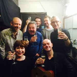 No Pressure To Be Funny. Image shows from L to R: Alistair Barrie, Jo Jo Smith, Hal Cruttenden, Michael Deacon, James O'Brien, Paul Thorne, Nick Revell.