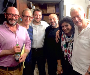 No Pressure To Be Funny. Image shows from L to R: Chris Neill, Nick Revell, Jake Yapp, Omid Djalili, Sajeela Kershi, Ronnie Golden.