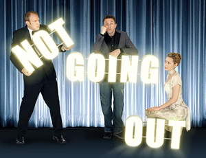 Not Going Out. Image shows from L to R: Tim (Tim Vine), Lee (Lee Mack), Kate (Megan Dodds). Image credit: Avalon Television.