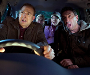 Not Going Out. Image shows from L to R: Tim (Tim Vine), Lucy (Sally Bretton), Daisy (Katy Wix), Lee (Lee Mack). Copyright: Avalon Television / Arlo Productions.
