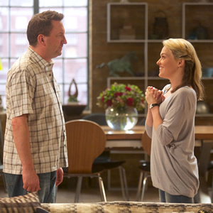 Not Going Out. Image shows from L to R: Lee (Lee Mack), Lucy (Sally Bretton). Copyright: Avalon Television / Arlo Productions.