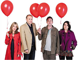 Not Going Out. Image shows from L to R: Lucy (Sally Bretton), Tim (Tim Vine), Lee (Lee Mack), Daisy (Katy Wix). Image credit: Avalon Television.