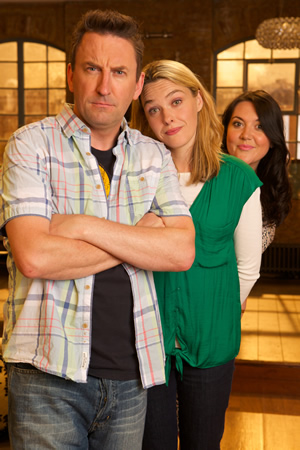 Not Going Out. Image shows from L to R: Lee (Lee Mack), Lucy (Sally Bretton), Daisy (Katy Wix). Copyright: Avalon Television / Arlo Productions.