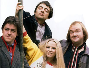 Not The Nine O'Clock News. Image shows from L to R: Griff Rhys Jones, Rowan Atkinson, Pamela Stephenson, Mel Smith.