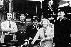 On The Buses. Image shows from L to R: Arthur (Michael Robbins), Olive (Anna Karen), Stan Butler (Reg Varney), Mum (Cicely Courtneidge), Jack Harper (Bob Grant), Inspector Blake (Stephen Lewis). Copyright: London Weekend Television.