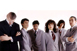 On The Hour. Image shows from L to R: Chris Morris, David Schneider, Patrick Marber, Rebecca Front, Doon Mackichan, Steve Coogan, Chris Morris, David Schneider, Patrick Marber, Rebecca Front, Doon Mackichan, Steve Coogan. Copyright: BBC.