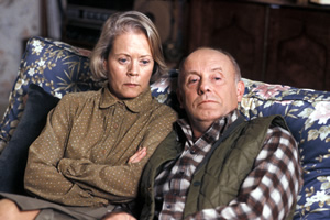 One Foot In The Grave. Image shows from L to R: Margaret Meldrew (Annette Crosbie), Victor Meldrew (Richard Wilson). Copyright: BBC.