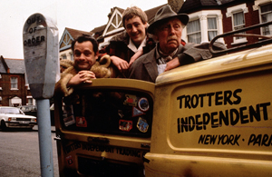 Only Fools And Horses. Image shows from L to R: Del (David Jason), Rodney (Nicholas Lyndhurst), Grandad (Lennard Pearce). Copyright: BBC.