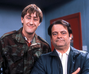 Only Fools And Horses. Image shows from L to R: Rodney (Nicholas Lyndhurst), Del (David Jason). Copyright: BBC.