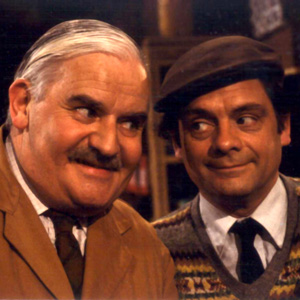 Open All Hours. Image shows from L to R: Albert Arkwright (Ronnie Barker), Granville (David Jason). Image credit: British Broadcasting Corporation.