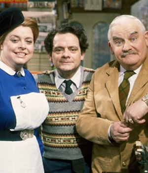 Open All Hours. Image shows from L to R: Nurse Gladys Emmanuel (Lynda Baron), Granville (David Jason), Albert Arkwright (Ronnie Barker). Image credit: British Broadcasting Corporation.