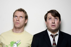 Peep Show. Image shows from L to R: Jeremy Osborne (Robert Webb), Mark Corrigan (David Mitchell). Image credit: Objective Productions.