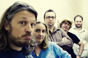 As It Occurs To Me. Image shows from L to R: Richard Herring, Emma Kennedy, Dan Tetsell, Christian Reilly, Ben Walker.
