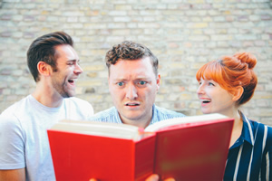 My Dad Wrote A Porno. Image shows from L to R: James Cooper, Jamie Morton, Alice Levine.