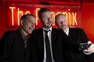 No Pressure To Be Funny. Image shows from L to R: Nick Revell, James O'Brien, Alistair Barrie.