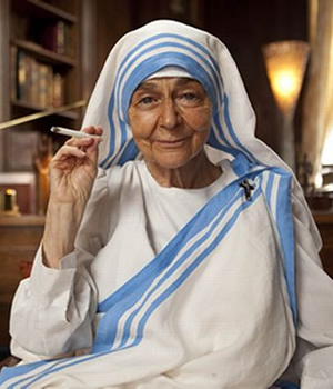 Psychobitches. Mother Teresa (Sheila Reid). Image credit: Tiger Aspect Productions.