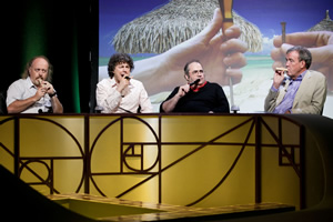 QI. Image shows from L to R: Bill Bailey, Alan Davies, Danny Baker, Jeremy Clarkson. Image credit: TalkbackThames.