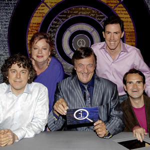 QI. Image shows from L to R: Alan Davies, Jo Brand, Stephen Fry, Rob Brydon, Jimmy Carr. Image credit: TalkbackThames.