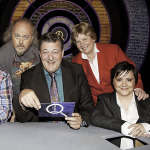 QI. Image shows from L to R: Bill Bailey, Stephen Fry, Sandi Toksvig, Susan Calman. Copyright: TalkbackThames.