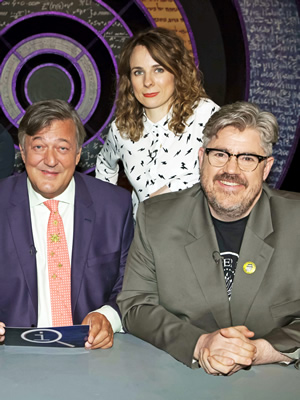 QI. Image shows from L to R: Stephen Fry, Cariad Lloyd, Phill Jupitus. Copyright: TalkbackThames.