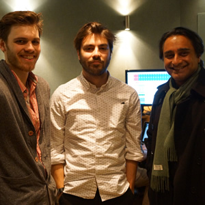 Image shows from L to R: Martin Woolley, Tom Gran, Sanjeev Bhaskar.