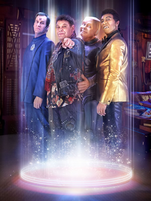 Red Dwarf. Image shows from L to R: Rimmer (Chris Barrie), Lister (Craig Charles), Kryten (Robert Llewellyn), Cat (Danny John-Jules).