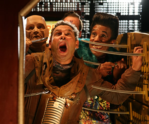 Red Dwarf. Image shows from L to R: Kryten (Robert Llewellyn), Lister (Craig Charles), Rimmer (Chris Barrie), Cat (Danny John-Jules). Copyright: Grant Naylor Productions / BBC.