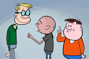 The Ricky Gervais Show. Image shows from L to R: Stephen Merchant, Karl Pilkington, Ricky Gervais. Image credit: Media Rights Capital.