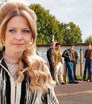 Rock & Chips. Image shows from L to R: Joan Trotter (Kellie Bright), Jumbo Mills (Lee Long), Trigger (Lewis Osborne), Del Boy (James Buckley), Boycie (Stephen Lloyd). Copyright: Shazam Productions / BBC.