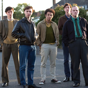 Rock & Chips. Image shows from L to R: Boycie (Stephen Lloyd), Del Boy (James Buckley), Trigger (Lewis Osborne), Jumbo Mills (Lee Long). Copyright: Shazam Productions / BBC.
