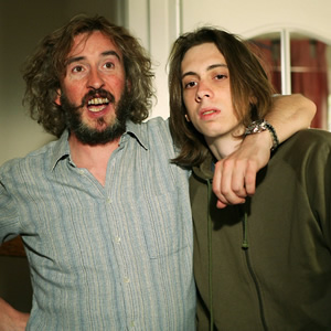 Saxondale. Image shows from L to R: Tommy (Steve Coogan), Raymond (Rasmus Hardiker).