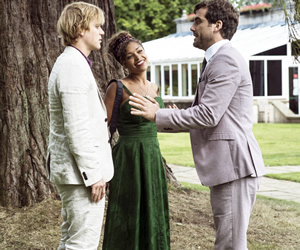 Lovesick. Image shows from L to R: Dylan (Johnny Flynn), Evie (Antonia Thomas), Luke (Daniel Ings). Copyright: Clerkenwell Films.