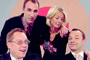Shooting Stars. Image shows from L to R: Vic Reeves, Will Self, Ulrika Jonsson, Bob Mortimer. Copyright: Channel X / Pett Productions.