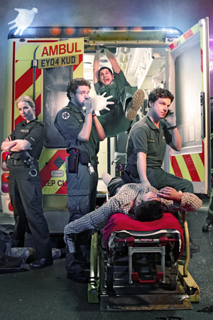 Sirens. Image shows from L to R: Sgt Maxine Fox (Amy Beth Hayes), Ashley Greenwick (Richard Madden), Rachid Mansaur (Kayvan Novak), Stuart Bayldon (Rhys Thomas). Copyright: Daybreak Pictures.