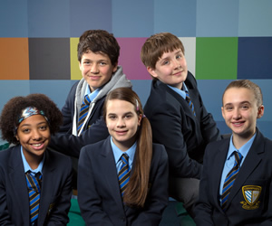 So Awkward. Image shows from L to R: Jas Salford (Ameerah Falzon-Ojo), Matt Furnish (Jamie Flatters), Lily Hampton (Cleo Demetriou), Ollie Coulton (Archie Lyndhurst), Martha Fitzgerald (Sophia Dall'Aglio). Copyright: Channel X North.