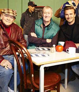 Only Fools And Horses - Sport Relief. Image shows from L to R: Del (David Jason), Rodney (Nicholas Lyndhurst), David Beckham. Copyright: BBC.