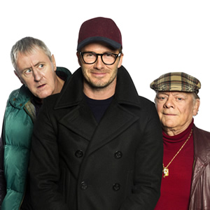 Only Fools And Horses - Sport Relief. Image shows from L to R: Rodney (Nicholas Lyndhurst), David Beckham, Del (David Jason). Copyright: BBC.