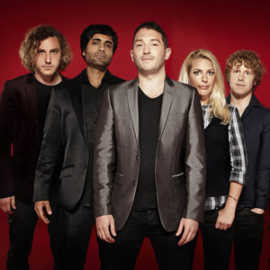 Stand Up For The Week. Image shows from L to R: Seann Walsh, Paul Chowdhry, Jon Richardson, Sara Pascoe, Josh Widdicombe. Copyright: Open Mike Productions.