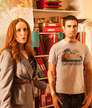 SuperBob. Image shows from L to R: Theresa (Catherine Tate), Bob (Brett Goldstein). Copyright: Grain Media.