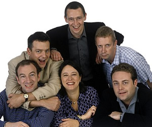The Fast Show. Image shows from L to R: Simon Day, Charlie Higson, Arabella Weir, Paul Whitehouse, Mark Williams, John Thomson. Image credit: British Broadcasting Corporation.