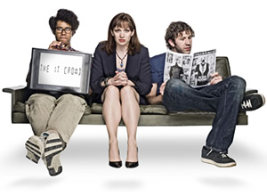 The IT Crowd. Image shows from L to R: Moss (Richard Ayoade), Jen (Katherine Parkinson), Roy (Chris O'Dowd). Image credit: TalkbackThames.