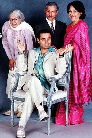 The Kumars At No. 42. Image shows from L to R: Ummi (Meera Syal), Sanjeev Kumar (Sanjeev Bhaskar), Dad (Vincent Ebrahim), Mum (Indira Joshi). Image credit: Hat Trick Productions.